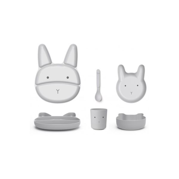 Bambus Kindergeschirr, baby - Rabbit dumbo grey - Liewood