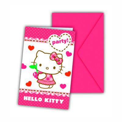 Einladungskarten - Hello Kitty - 6 St.