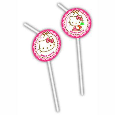 Trinkhalme mit Dekorationen - Hello Kitty - 6 St.