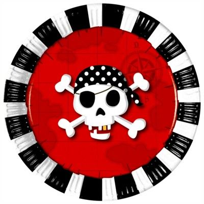 Pappteller - Pirat rot/schwarz - 8 St.