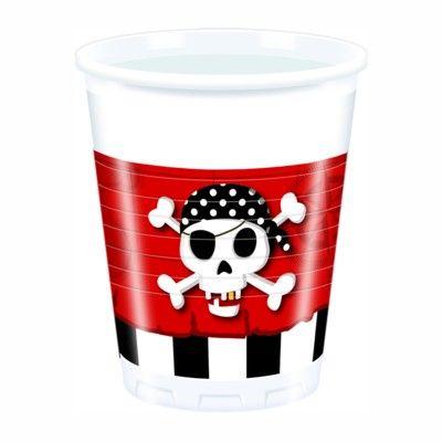 Plastikbecher - Pirat rot/schwarz - 8 St.