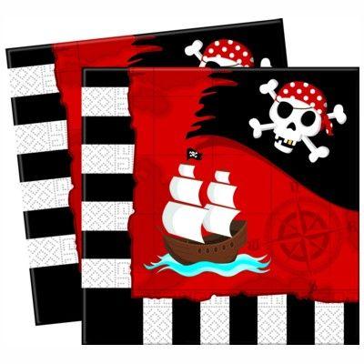 Papierservietten - Pirat rot/schwarz - 20 St.