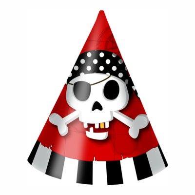 Partyhüte - Pirat rot/schwarz - 6 St.