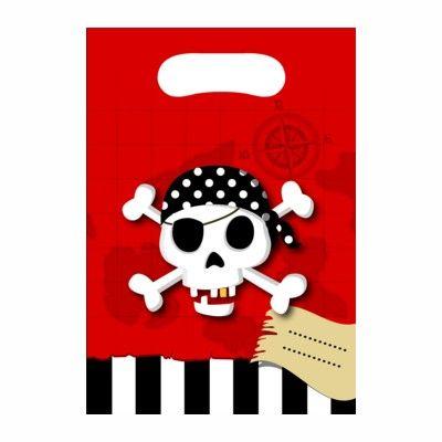 Bonbontüten - Pirat rot/schwarz - 6 St.