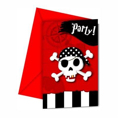 Einladungskarten - Pirat rot/schwarz - 6 St.