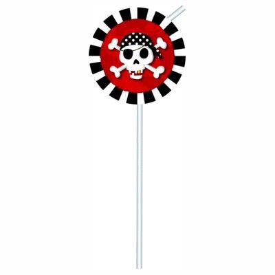 Trinkhalme mit Dekorationen - Pirat rot/schwarz - 6 St.