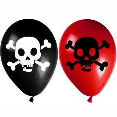 Ballons - Pirat rot/schwarz - 8 St.