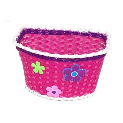 Fahrradkorb - Pink mit Blumen
