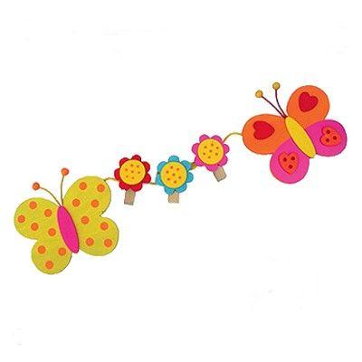 Memoleiste mit Klammern - Schmetterlinge und Blumen