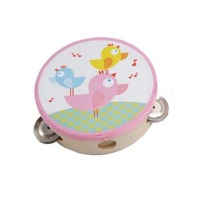 Tamburin - Rosa mit Vögel