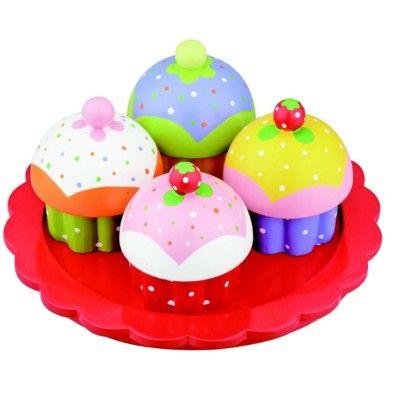 Kaufladen - Kuchenteller mit vier Muffins