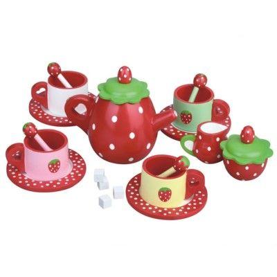 Spiel-Geschirr aus Holz - Erdbeere - MaMaMeMo