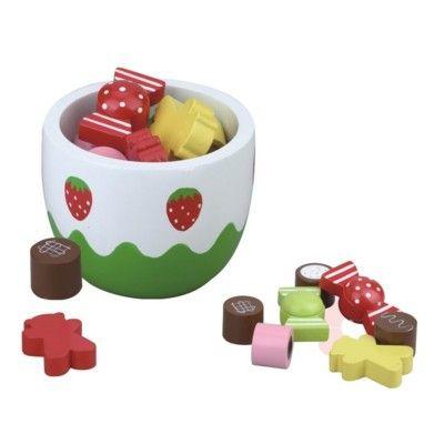 Kaufladen - Schale mit Süßigkeiten aus Holz