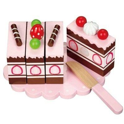 Kaufladen - Torte aus Holz - Erdbeere
