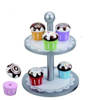 Kaufladen - Silber Kuchenplatte mit 6 Muffins