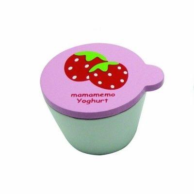Kaufladen - Joghurt aus Holz - Erdbeere - MaMaMeMo