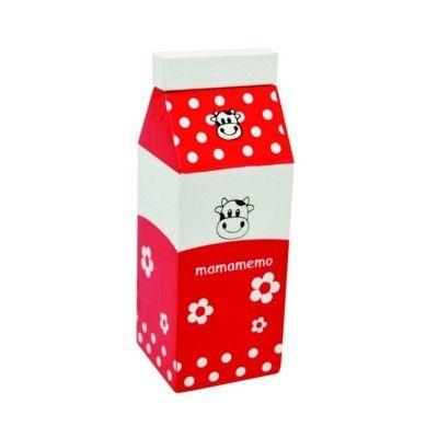 Kaufladen - Milch aus Holz - Rot - MaMaMeMo