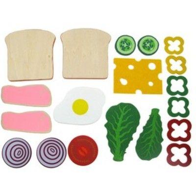 Kaufladen - Sandwich aus Holz und Stoff machen