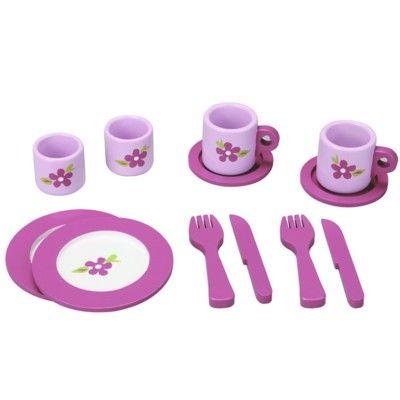 Spiel-Geschirr aus Holz - Rosa Blume