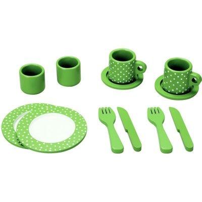Spiel-Geschirr aus Holz - Grün mit Punkten