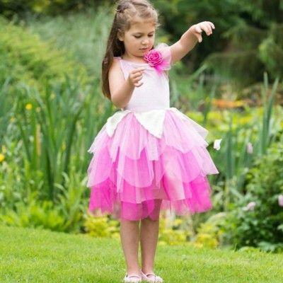 Verkleidung - Feekleid mit rosa Blume - 6-8 Jahre