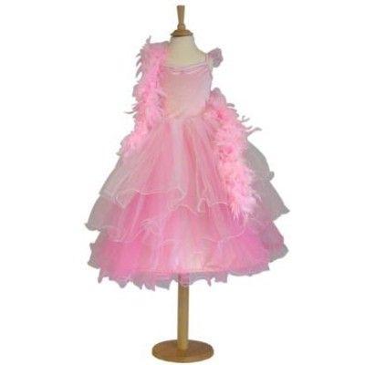 Verkleidung - Rosa Kleid und Federboa - 6-8 Jahre