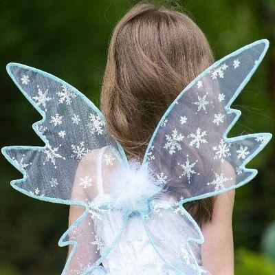 Verkleidung - Feekleid mit Flügel - Schnee - 6-8 Jahre