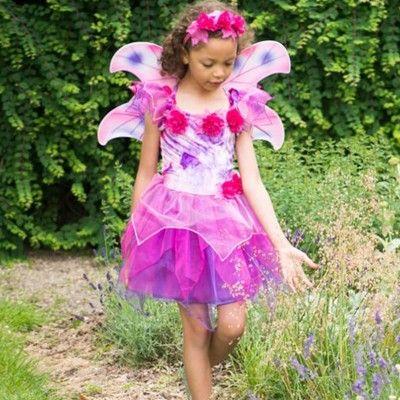 Verkleidung - Feekleid mit Flügel - Fuchsie - 6-8 Jahre