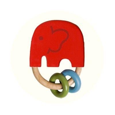 Greifling-Elefant mit Perlen - India Rot - Ökologisch von Franck & Fischer