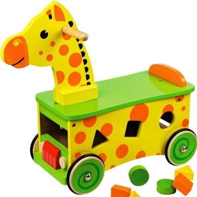 Rutscher aus Holz - Giraffe mit Steckkasten - Bigjigs