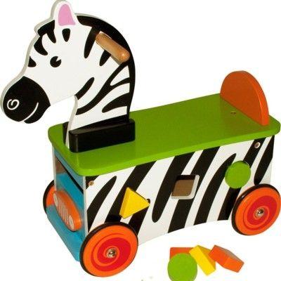 Rutscher aus Holz - Zebra mit Steckkasten - Bigjigs