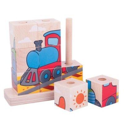 Würfelpuzzle - Transport - 9 Teile - Bigjigs
