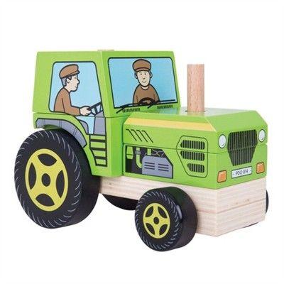 Holzauto - Traktor mit Klötzen - Bigjigs