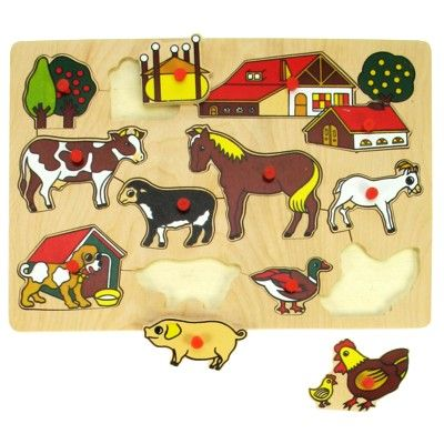 Puzzle mit Knöpfen - Bauernhof - 12 Teile - Bigjigs