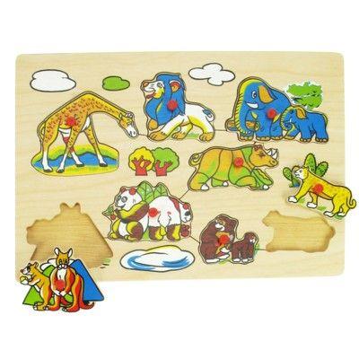 Puzzle mit Knöpfen - Wilde Tiere - 8 Teile