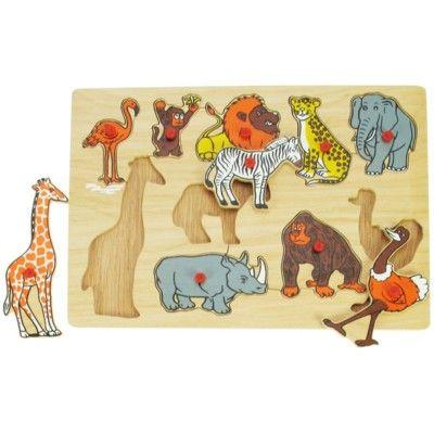 Puzzle mit Knöpfen - Dschungeltiere - 10 Teile