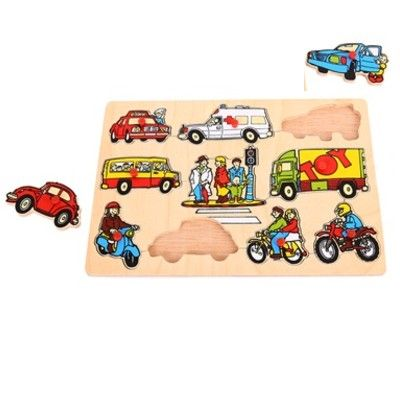 Puzzle mit Knöpfen - Verkehr - 10 Teile - Bigjigs