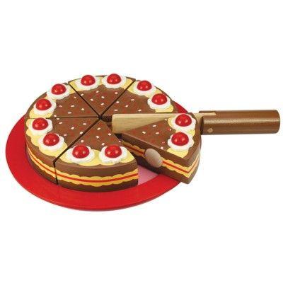 Kaufladen - Torte aus Holz - Schokolade - Bigjigs