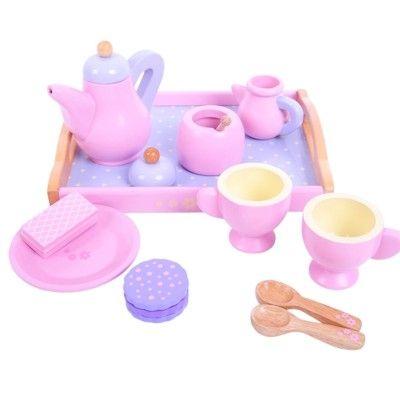 Spiel-Geschirr aus Holz - Rosa und lila - Bigjigs