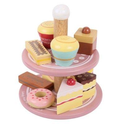 Kaufladen - Altrosa Kuchenplatte mit Kuchen - Bigjigs