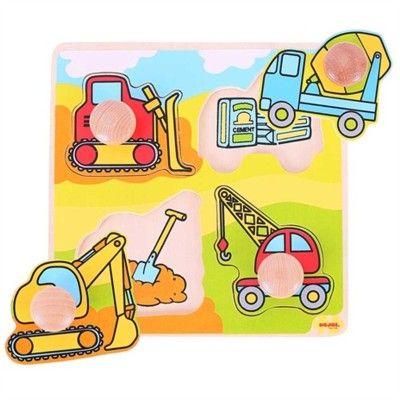 Puzzle mit Knöpfen - Baumaschinen - 4 Teile
