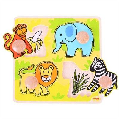 Puzzle mit Knöpfen - Safari - 4 Teile
