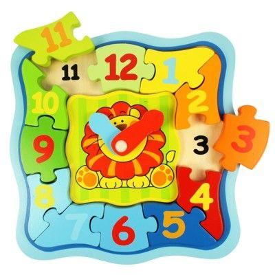 Puzzle - Die Uhr lernen - Löwe - Bigjigs