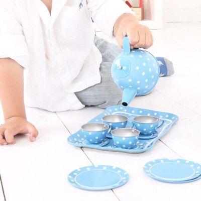 Spiel-Geschirr aus Metall - Blau mit weißen Punkten - Bigjigs