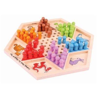 Spiel - Stern-Halma aus Holz - Tiere - Bigjigs