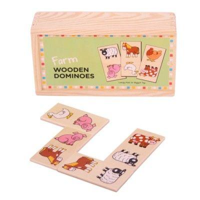 Spiel - Domino aus Holz - Bauernhoftiere - Bigjigs