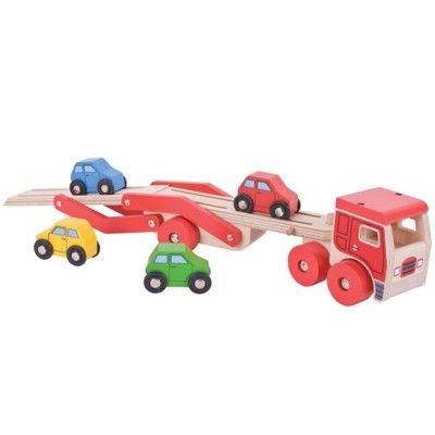 Autotransporter mit 4 Autos - Rot - Bigjigs