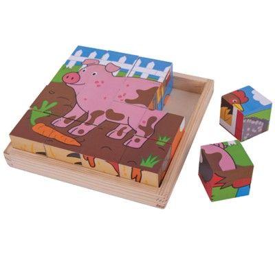 Würfelpuzzle - Bauernhoftiere - 16 Teile - Bigjigs