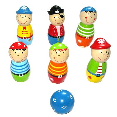 Spiel - Bowling aus Holz - Piraten - Bigjigs