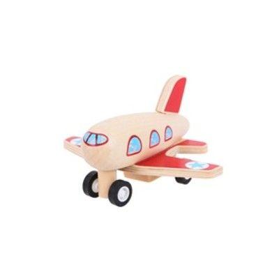 Flugzeug aus Holz - Rote Flügel